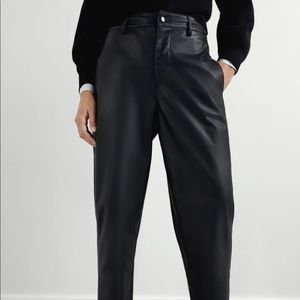 Zara black fake leather trousers